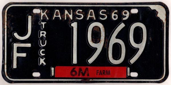 Kansas 1969 truck license plate Jefferson county #JF-1969