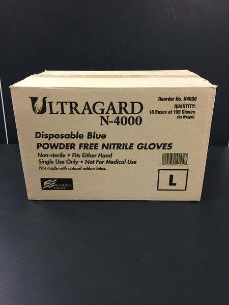 Case of Powder Free Blue Nitrile Gloves