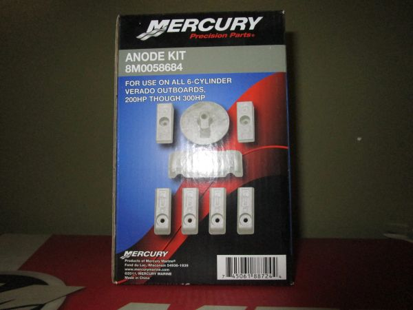 Anode kit by Mercury 8M0058684 for use on 6 cylinder Verado