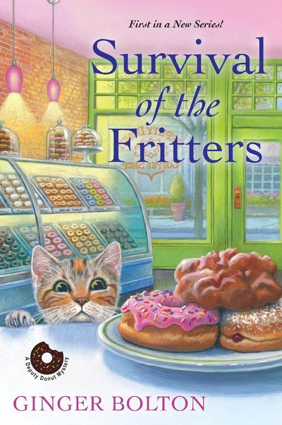 A cat named Deputy Donut eyeing donuts and fritters in a donut shop also called Deputy Donut on the cover of Survival of the Fritters by Ginger Bolton