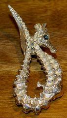 Sea Stallion Sterling Silver Pendant Cabochon Sapphire Eye