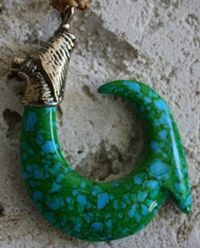 "Large Bronze Fish Hook Necklace ""Sea Mist"""