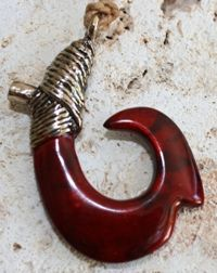 Small Bronze Fish Hook Necklace Burmese Ruby