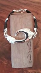 Sterling Silver Fish Hook Bracelet with Leather Band