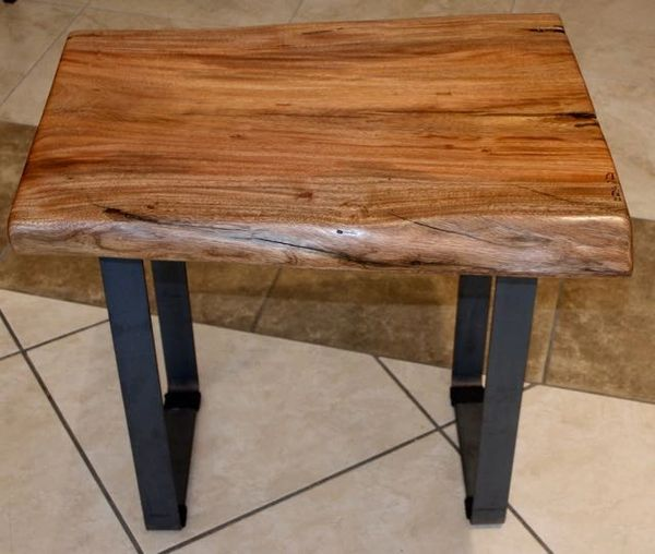 Tropical Almond Slab Wood End Table