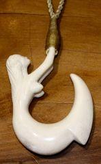 Island Mermaid Fish Nook Necklace Moose Antler 01
