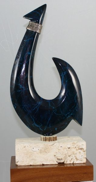 "Hawaiian Circle Fish Hook Sculpture ""Blue Thunder"""