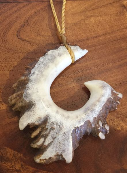 Island Fish Hook Necklace Moose Antler Rosette Shed 1