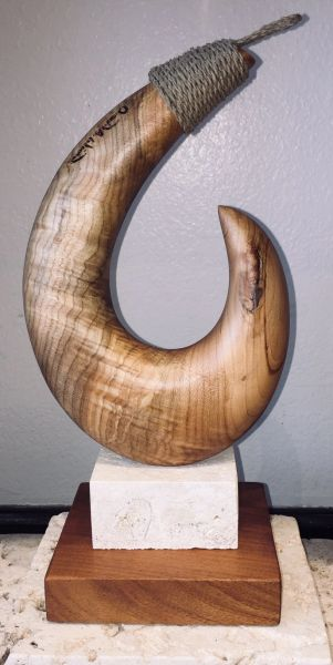 BARBLESS Fish Hook Sculpture Spalted Maple