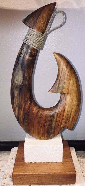 Island Fish Hook Sculpture Spalted Norfolk Pine Double Barb