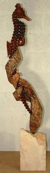 Isla Redwood Sea Horse Sculpture