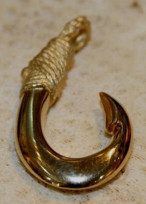 Mini 14K Yellow Gold Hawaiian Fish Hook Pendant Inside Barb