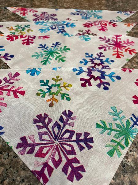 Small Multi Color Snowflake Bandanna ( measures 15 inch)