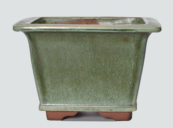 Green Glazed Semi Cascade Japanese Bonsai Pot Youzan Kiln