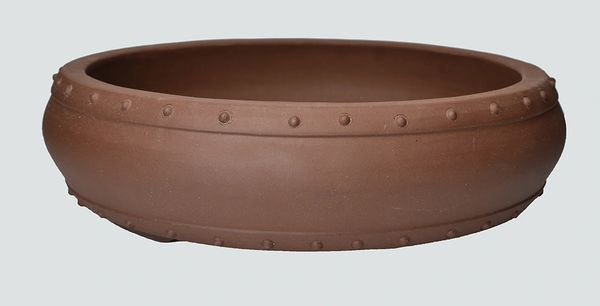 Unglazed Round Drum Chinese Bonsai Pot