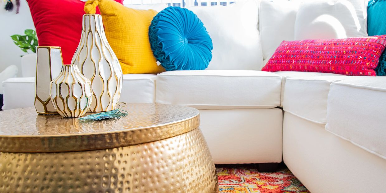 boho chic glam colorful living room remodel room makeover pillows white sectional glam decorating