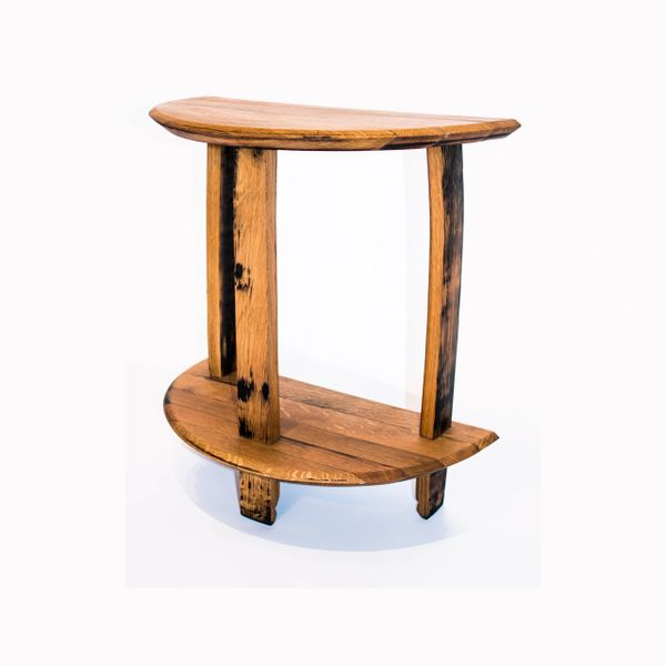 Half Rond Side Table.Oak Scotch Whisky Barrel Half Round Side Table