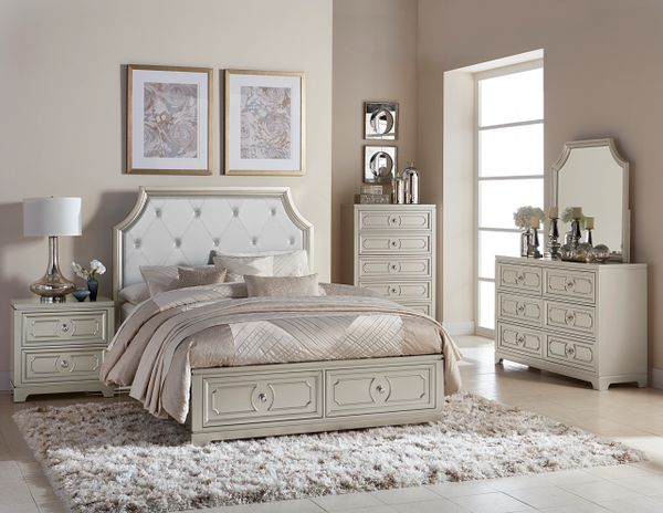 5 Piece Champagne Color Wood Bedroom Set from the Libretto Collection  (MMIDSXE1755)
