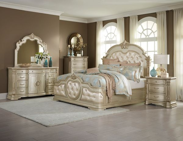 Old World European Style 6 Piece Bedroom Set from the Antoinetta Collection  (MMIDSXE1919N)