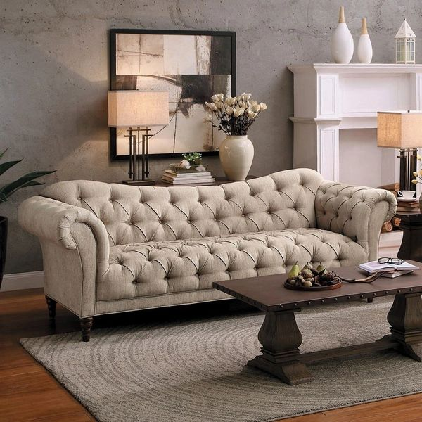 Beige Upholstered Tuft Sofa From The St Claire Collection
