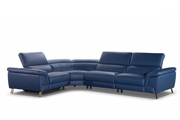 Accenti Italia Azur Italian Modern Blue Leather Sectional w/ Recliner  (MMIDSXG75749)