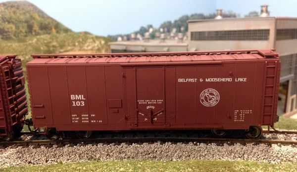 Belfast & Moose Head Lake 40 Ft SD boxcar HO decal set.