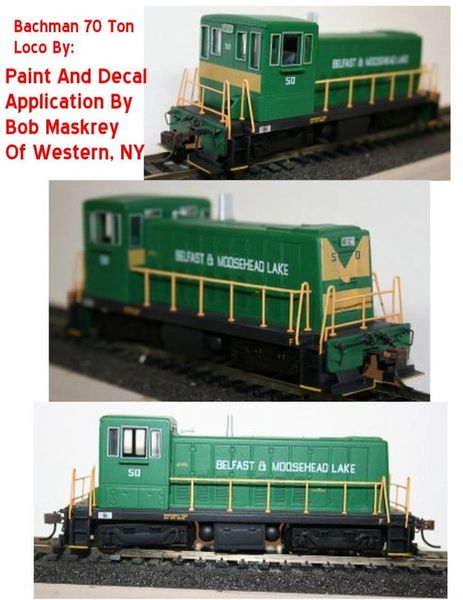 Belfast & Moose Head Lake HO Scale Diesel 70 tonner set