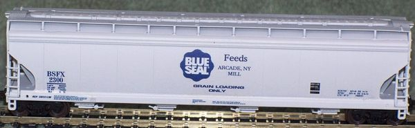 Blue Seal Feeds-HO Scale hopper car set. A Modern Rails Original Idea.