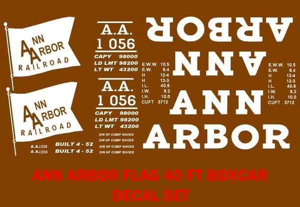 ANN ARBOR RAILROAD 40 FT BOXCAR G-CAL DECAL SET