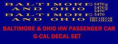B & O PASSENGER CAR G-CAL DECAL SET, $$ SATIN GOLD INK