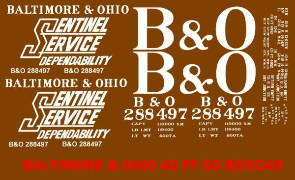 B&O 40 FT BOXCAR G-CAL DECAL SET