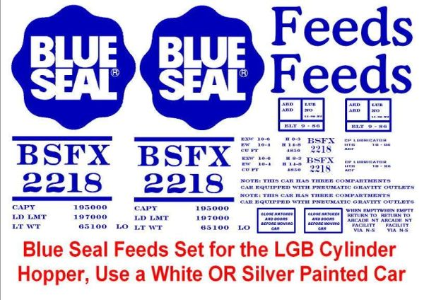 BLUE SEAL FEEDS G-CAL DECAL SET. M.R.Co. ORIGINAL IDEAS ROLLING STOCK