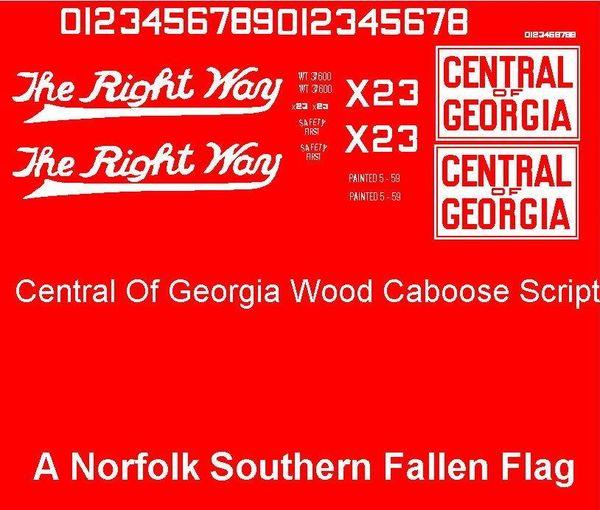 CENTRAL OF GEORGIA CABOOSE G-CAL DECAL SET