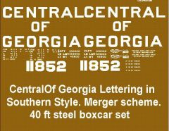 CENTRAL OF GEORGIA/SOUTHERN R.R. MERGER BOXCAR G-CAL DECAL SET