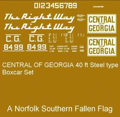 CENTRAL OF GEORGIA. R.R. 40 FT BOXCAR G-CAL DECAL SET