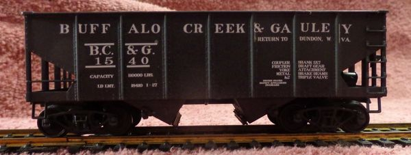 BUFFALO CREEK & GAULEY COAL HAULER SHORTLINE HO SCALE HOPPER DECAL SET