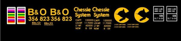 CHESSIE B&O 40 FT GONDOLA G-CAL DECAL SET