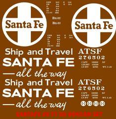 SANTA FE 40 FT FOOD BOXCAR SHIP AND TRAVEL SANTA FE ALL THE WAY. HO DECAL SET.
