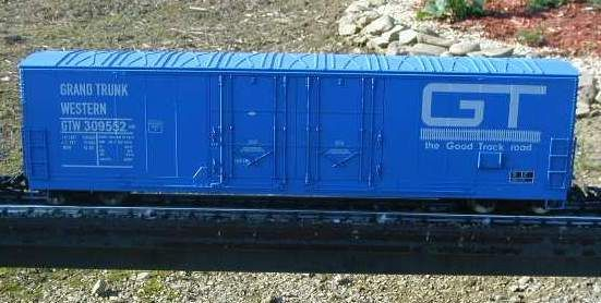GRAND TRUNK RR G-CAL DECAL SET FOR THE ARISTOCRAFT 53 FT EVANS BOXCAR IN G SCALE.
