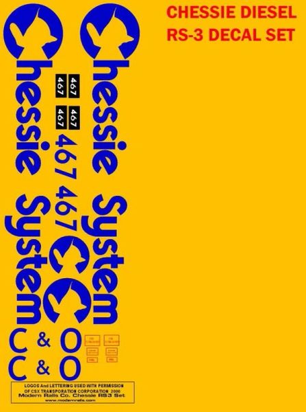 CHESSIE RS-3 DIESEL G-CAL DECAL SET. G-SCALE