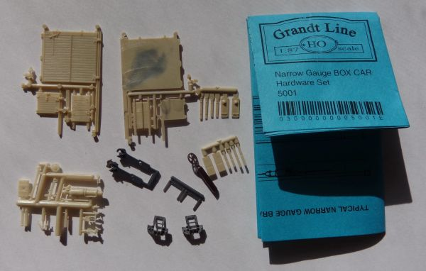 GRANDT 5001 NARROW GAGE TYPE BOXCAR PARTS HO SCALE
