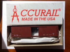 ACCURAIL 5099-50 FT HO SCALE AAR TYPE STEEL BOXCAR, BOXCAR RED, DATA.