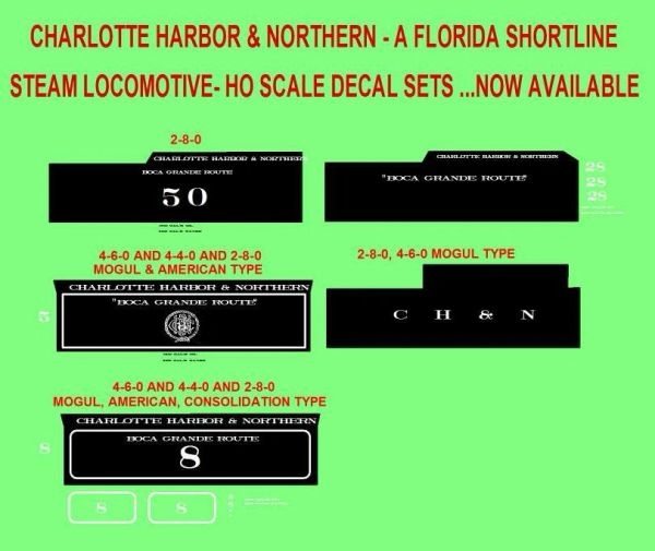 CHARLOTTE HARBOR & NORTHERN STEAM LOCO DECAL HO DECAL SET.
