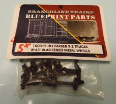 BRANCHLINE TRAINS 100019 BARBER S2 TRUCKS-WHEEL SET. HO SCALE