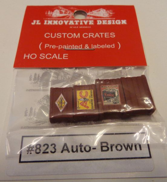 JL INNOVATIVE DESIGN #823, HO SCALE FREIGHT CAR CRATES FOR AUTO PARTS.
