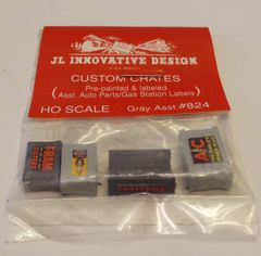 JL INNOVATIVE DESIGN #824, HO SCALE FREIGHT CAR CRATES FOR AUTO PARTS.