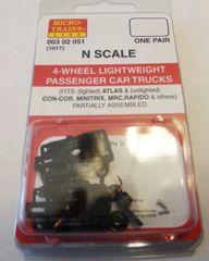 MICRO TRAINS 1017, 4 WHEEL PASSENGER CAR TRUCKS N SCALE