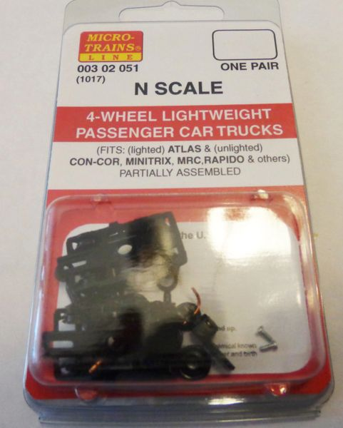 MICRO TRAINS 1017, 4 WHEEL PASSENGER CAR TRUCKS N SCALE