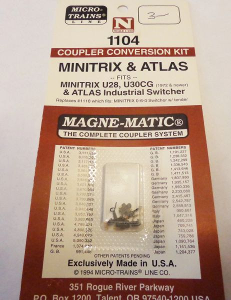 MICRO TRAINS 1104 COUPLER CONVERSION KIT.