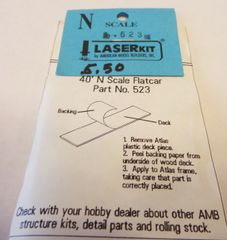 AMERICAN MODEL BUILDERS 523 LASER CUT WOOF FLATCAR FLOOR N SCALE